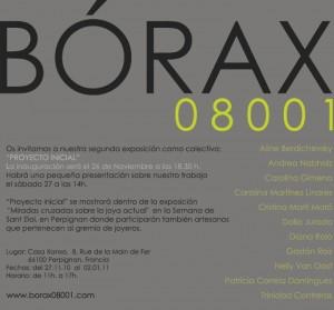 Invitación a la segunda exposición del colectivo Bórax08001